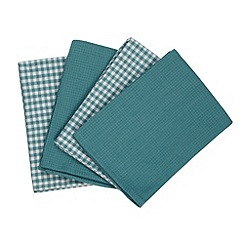 Home Collection Basics - Set of four turquoise tea towels