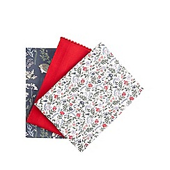 At home with Ashley Thomas - Red woodland print set of three tea towels
