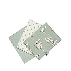 At home with Ashley Thomas - Set of three light green duck printed tea towels