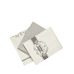 Debenhams - Set of three off white 'Epicerie fine' tea towels