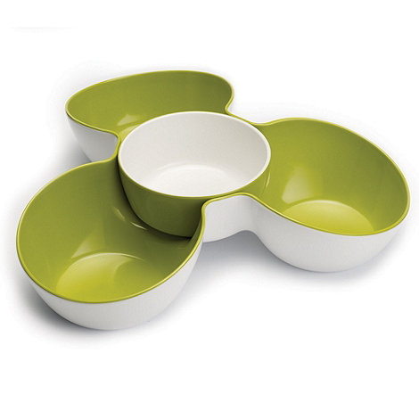 Joseph Joseph - Triple Dish multi-bowl serving dish in white and green