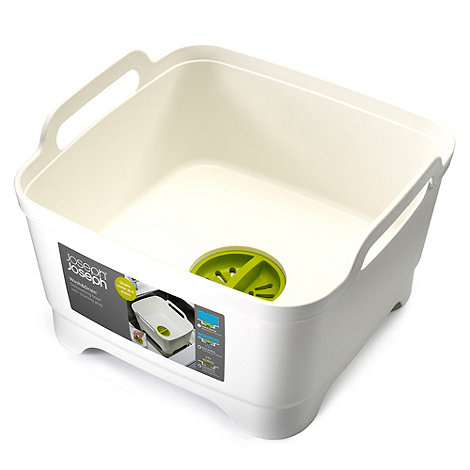 Joseph Joseph - Wash&Drain dishwashing bowl with straining plug in white and green