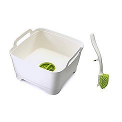 Joseph Joseph - Wash&Drain Dishwashing Bowl with Edge Dish Brush in white and green