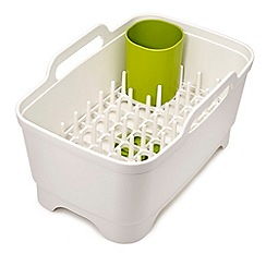 Joseph Joseph - White and green 'Wash and Drain+' washing up bowl with dish drainer
