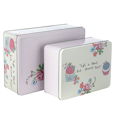At home with Ashley Thomas - Set of two floral dessert tins
