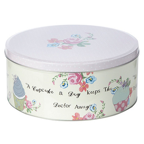 At home with Ashley Thomas - Ashley Thomas pink floral cake tin