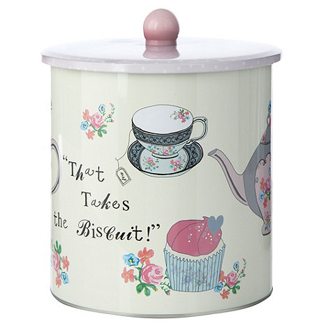At home with Ashley Thomas - Pink floral polka dotted biscuit tin