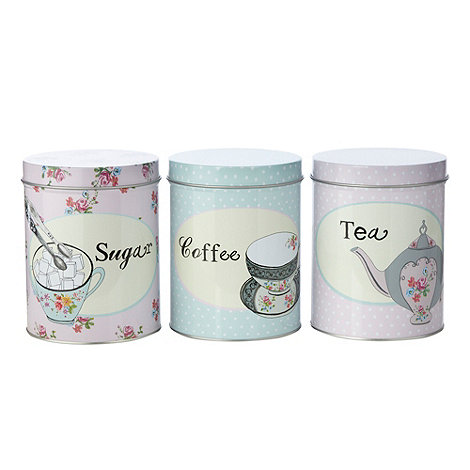 At home with Ashley Thomas - Set of three floral and polka dotted storage tins
