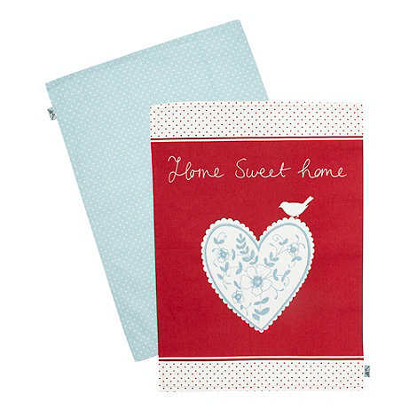At home with Ashley Thomas - Ashley Thomas cotton set of two patterned tea towels