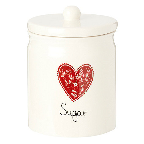 At home with Ashley Thomas - Cream ceramic heart printed sugar jar