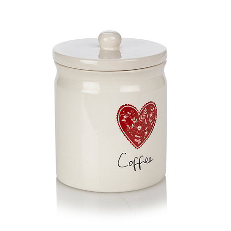 At home with Ashley Thomas - Cream ceramic heart printed coffee jar
