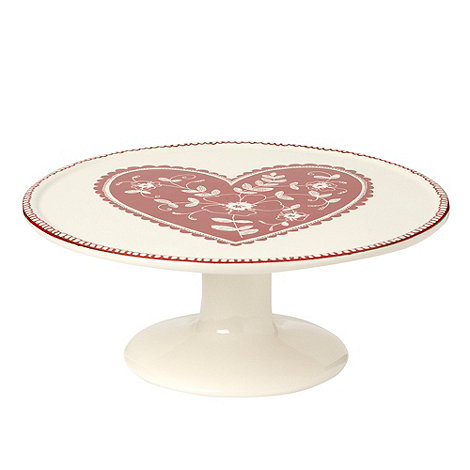 At home with Ashley Thomas - Cream heart one tier cake stand