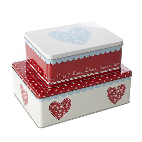 At home with Ashley Thomas - Set of two metal patterned rectangular cake tins