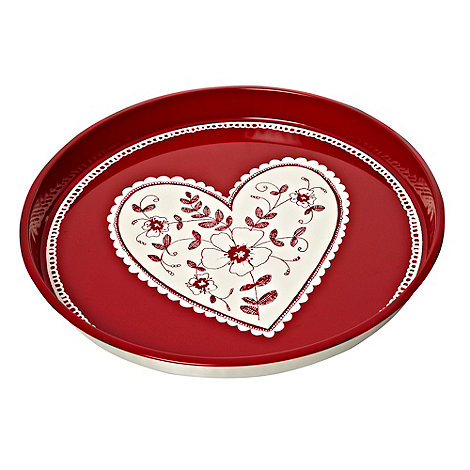 At home with Ashley Thomas - Red heart patterned tin tray