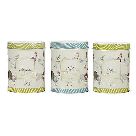 At home with Ashley Thomas - Set of three metal chicken patterned storage tins