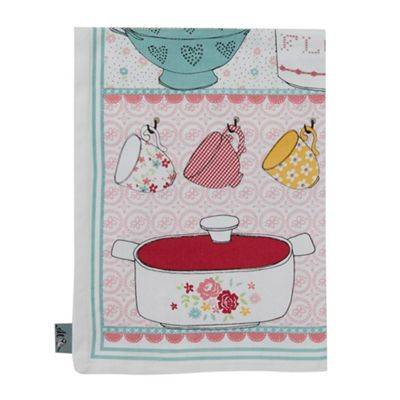 At home with Ashley Thomas Aqua larder tea towel - . -