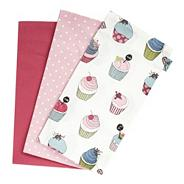 Set of three cotton patterned tea towels