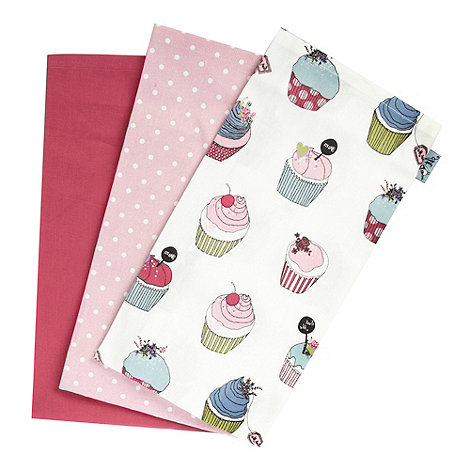 At home with Ashley Thomas - Set of three cotton patterned tea towels