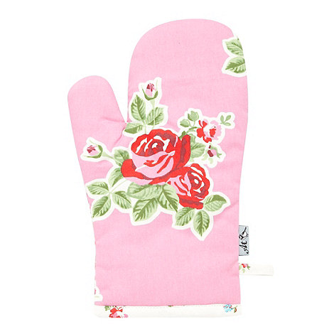 At home with Ashley Thomas - Pink cotton floral oven mitt