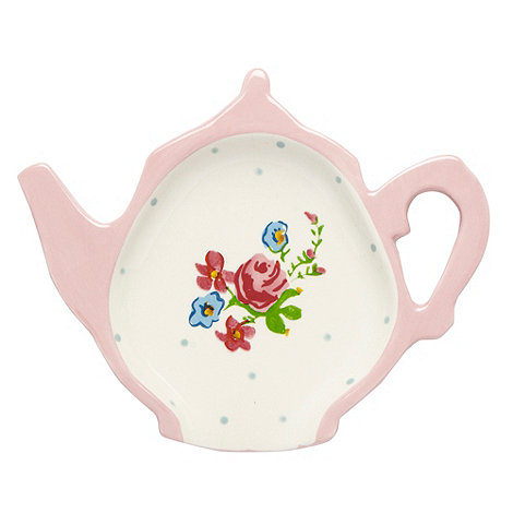 At home with Ashley Thomas - Pink ceramic teapot spoon rest