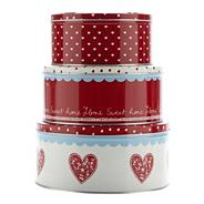 Set of three round heart cake tins