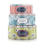 Set of three floral shaped cake tins