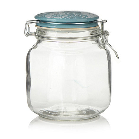 At home with Ashley Thomas - White large floral clip top glass jar