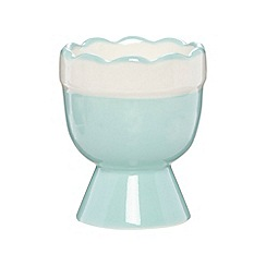At home with Ashley Thomas - Designer aqua ceramic scalloped egg cup