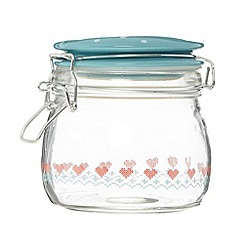 At home with Ashley Thomas - Aqua glass strawberry print storage jar