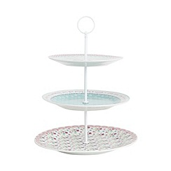 At home with Ashley Thomas - Pink porcelain floral strawberry three tier cake stand