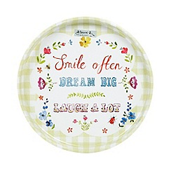 At home with Ashley Thomas - Large green gingham 'Dream Big' tin tray