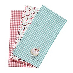 At home with Ashley Thomas - Set of three pink floral and gingham tea towels