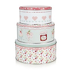 At home with Ashley Thomas - Set of three floral cake tins