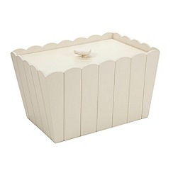 At home with Ashley Thomas - White wooden scalloped bread bin