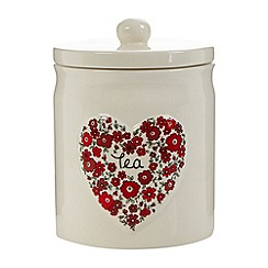 At home with Ashley Thomas - Ceramic heart 'Tea' jar