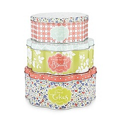 At home with Ashley Thomas - Set of three floral spotted tins