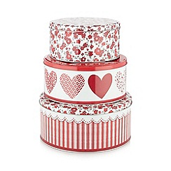 At home with Ashley Thomas - Set of three red floral heart tins