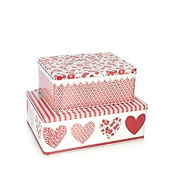 At home with Ashley Thomas - Set of two striped floral heart tins