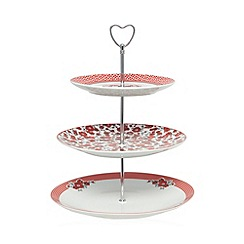At home with Ashley Thomas - Red porcelain ditsy floral three tier cake stand