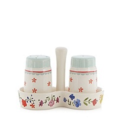 At home with Ashley Thomas - Cream stoneware floral salt and pepper pots