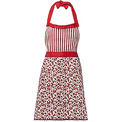 At home with Ashley Thomas - Red ditsy hearts floral printed apron