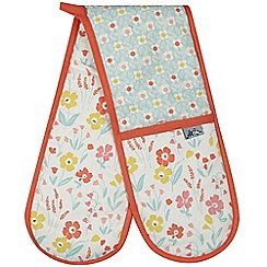 At home with Ashley Thomas - Pink floral printed double oven glove
