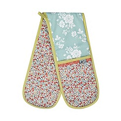 At home with Ashley Thomas - Pale blue floral printed double oven glove
