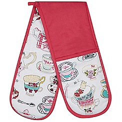 At home with Ashley Thomas - Pink teacup printed double oven glove