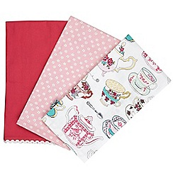 At home with Ashley Thomas - Set of three pink teacup printed tea towels