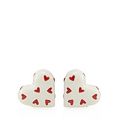 At home with Ashley Thomas - Set of two stoneware heart salt and pepper shakers