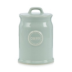 At home with Ashley Thomas - Pale green ceramic 'Coffee' storage jar