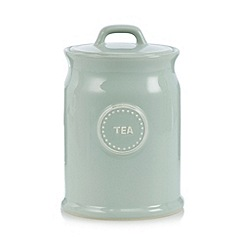 At home with Ashley Thomas - Pale green ceramic 'Tea' storage jar