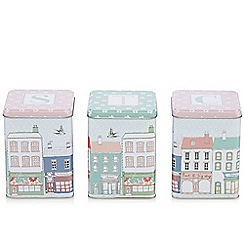 At home with Ashley Thomas - Set of three metal tea, coffee and sugar storage tins