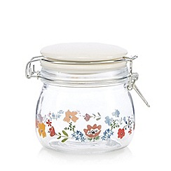 At home with Ashley Thomas - Glass floral clip top storage jar